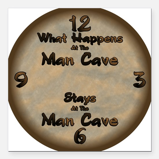 "What Happens at the Man  Square Car Magnet 3"" x 3"""