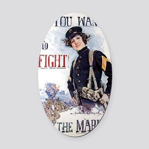 Christy Marines recruiting poster Oval Car Magnet