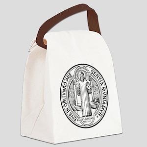 St Benedict Medal Front Black Canvas Lunch Bag
