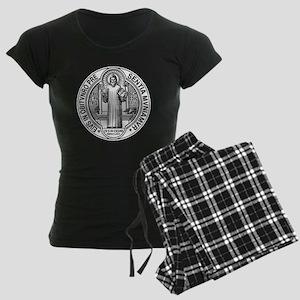 St Benedict Medal Front Blac Women's Dark Pajamas