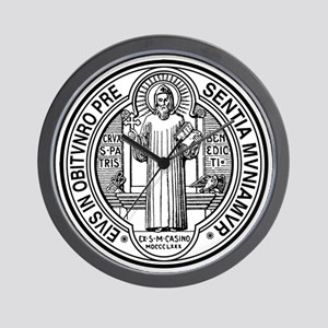 St Benedict Medal Front Black Wall Clock