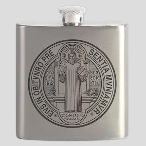 St Benedict Medal Front Black Flask