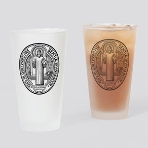 St Benedict Medal Front Black Drinking Glass