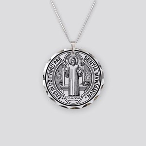 St Benedict Medal Front Blac Necklace Circle Charm
