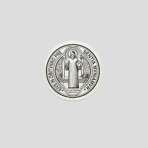 St Benedict Medal Front Black Mini Button