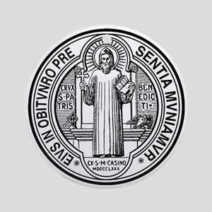St Benedict Medal Front Black Round Ornament
