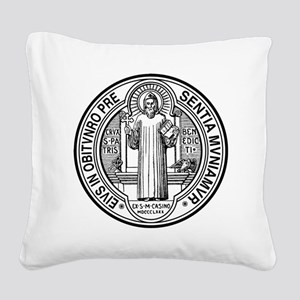 St Benedict Medal Front Black Square Canvas Pillow