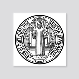 """St Benedict Medal Front Bla Square Sticker 3"""" x 3"""""""