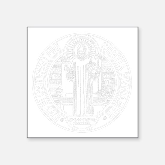 """St. Benedict Medal Front  W Square Sticker 3"""" x 3"""""""