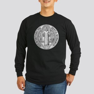 St. Benedict Medal Front  Long Sleeve Dark T-Shirt