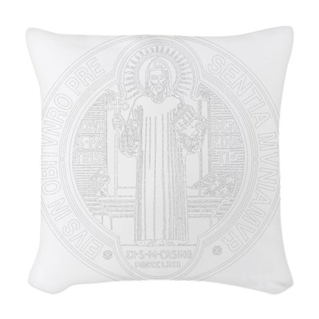 St. Benedict Medal Front Whit Woven Throw Pillow