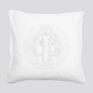 St. Benedict Medal Front  Whi Square Canvas Pillow