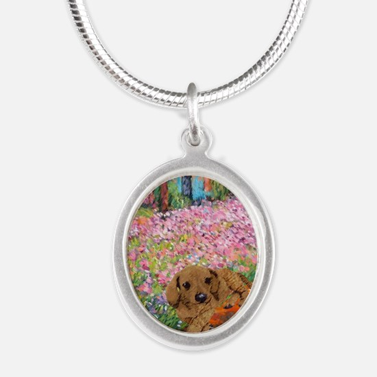 painting flowers tigher 16x16 Silver Oval Necklace