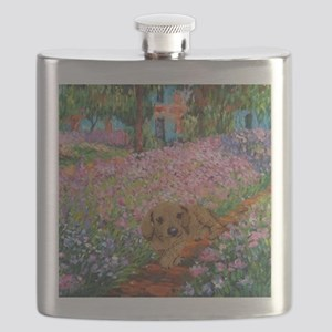 painting flowers tigher 16x16 Flask