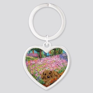 painting flowers tigher 16x16 Heart Keychain