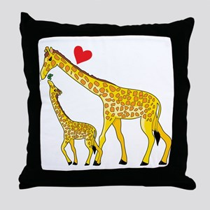 giraffe and baby cp wht Throw Pillow