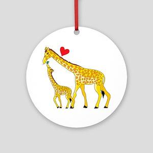 giraffe and baby cp wht Round Ornament