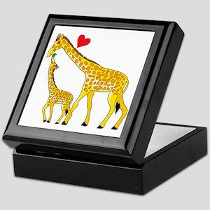 giraffe and baby cp wht Keepsake Box