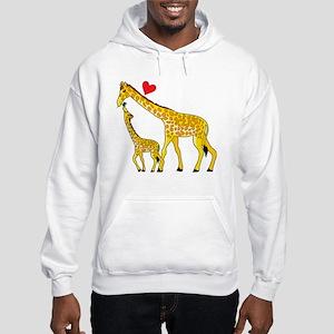 giraffe and baby cp wht Hooded Sweatshirt