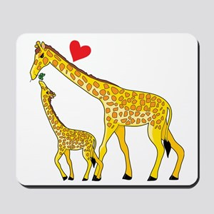 giraffe and baby cp wht Mousepad