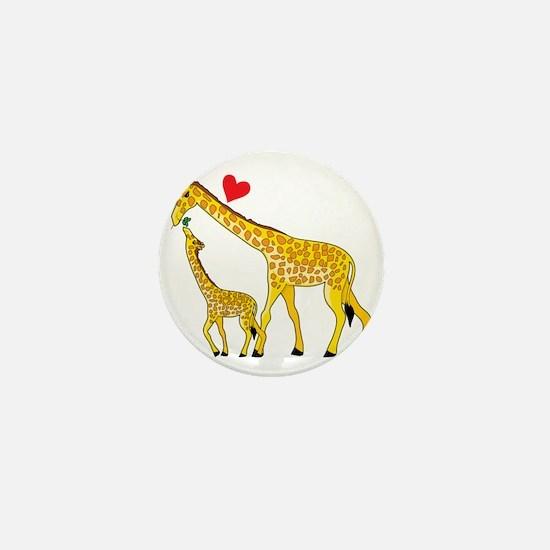 giraffe and baby cp wht Mini Button