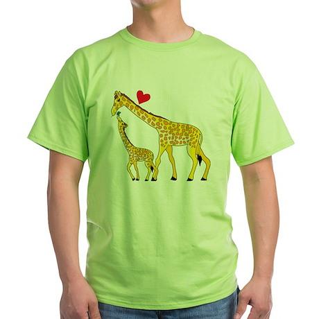 giraffe and baby cp wht Green T-Shirt