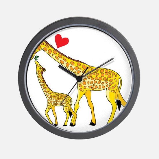 giraffe and baby cp wht Wall Clock