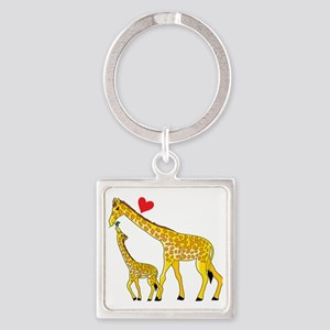 giraffe and baby cp wht Square Keychain