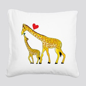 giraffe and baby cp wht Square Canvas Pillow