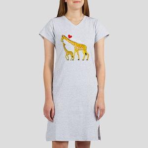 giraffe and baby cp wht Women's Nightshirt