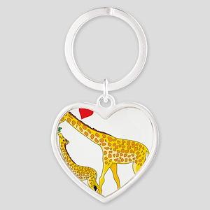 giraffe and baby cp wht Heart Keychain