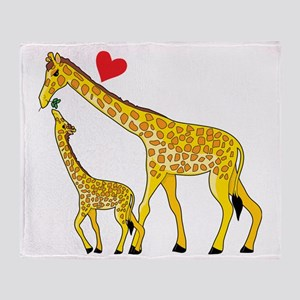giraffe and baby cp wht Throw Blanket
