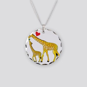 giraffe and baby cp wht Necklace Circle Charm