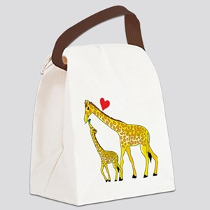 giraffe and baby cp wht Canvas Lunch Bag