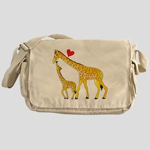 giraffe and baby cp wht Messenger Bag