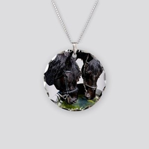 horsedrinks3 Necklace Circle Charm