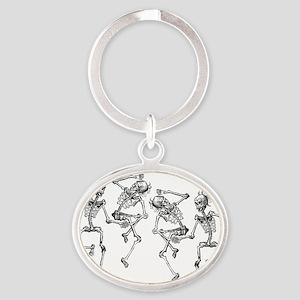 skeletons dancing Oval Keychain