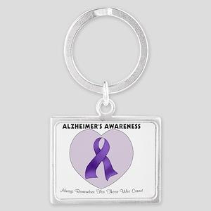 1 alzheimers heart Landscape Keychain