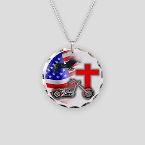 BIKER FLAG 3 Necklace Circle Charm