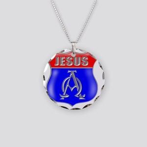 JESUS AO SIGN Necklace Circle Charm