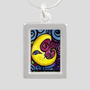 Swirly_Moon_12inch Silver Portrait Necklace