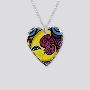 Swirly_Moon_12inch Necklace Heart Charm