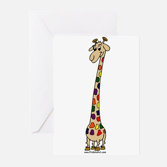 Giraffe Rainbow Pride Greeting Cards (6)