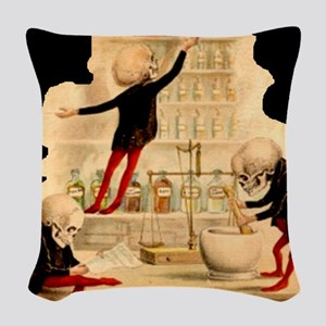 Mad-Scientist-Skeletons-onBlac Woven Throw Pillow