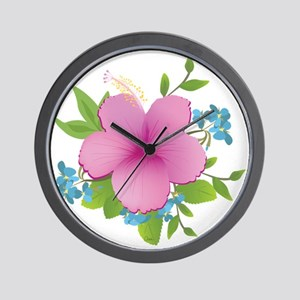 Tropical hybiscus Wall Clock