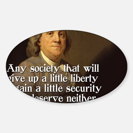 Ben Franklin Quote Sticker (Oval)