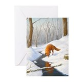 Fox in snow Greeting Cards (10 Pack)