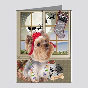 Yorkie Santa Is Coming To Town Note Cards