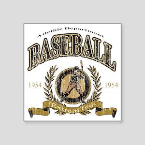 """Baseball - Retro Square Sticker 3"""" x 3"""""""