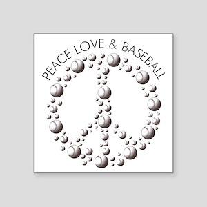 """Peace,Love  Baseball Square Sticker 3"""" x 3"""""""